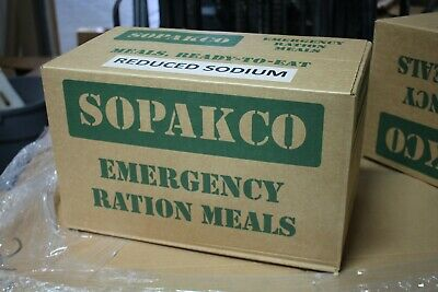 Case Of  14 SOPAKCO MRE Emergency Ready to Eat 0920 Inspect Date REDUCED SODIUM
