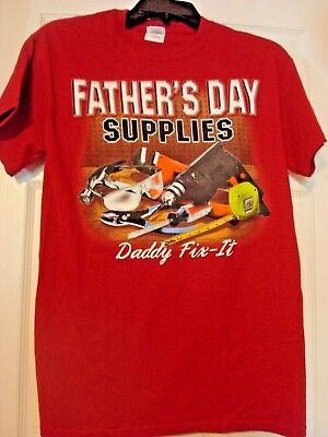 GILDAN FATHERS DAY SUPPLIES DAD SM GRAPHIC RED PRE-SHRUNK COTTON T-SHIRT NEW