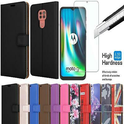 For Motorola Moto G9 Play Flip Leather Wallet Stand Case Cover - 9H Screen Glass