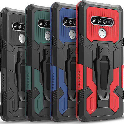 For LG Stylo 6 Phone Case Kickstand Belt Clip Cover - Tempered Glass Protector