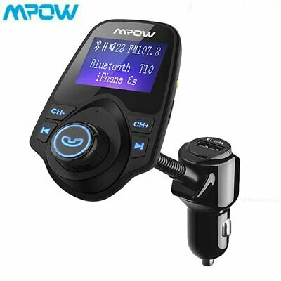 Mpow Bluetooth Wireless Car FM Transmitter AUX Receiver Adapter kit USB Charger