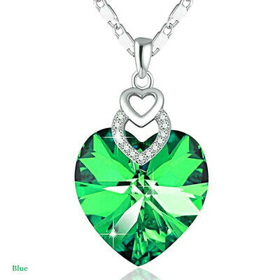 Dainty 3 Hearts Silver Green Crystals Pendant Necklace Jewelry MotherS Day Gift