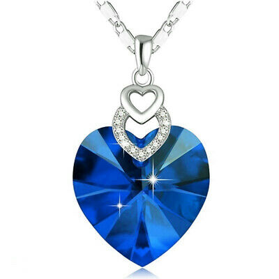 Dainty 3 Hearts Silver Blue Crystals Pendant Necklace Jewelry MotherS Day Gift