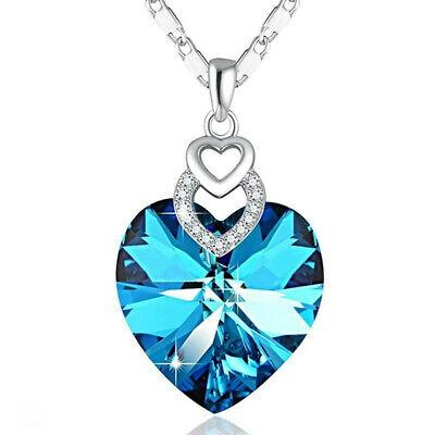 Dainty 3 Hearts Silver Aquamarine Pendant Necklace Jewelry MotherS Day Gift