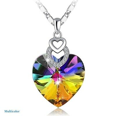 Dainty 3 Hearts Silver Rainbow Pendant Necklace Jewelry MotherS Day Gift