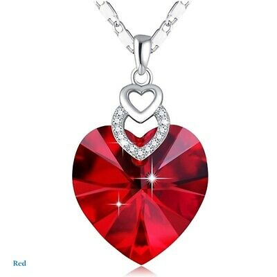 Dainty 3 Hearts Silver Red Crystals Pendant Necklace Jewelry MotherS Day Gift