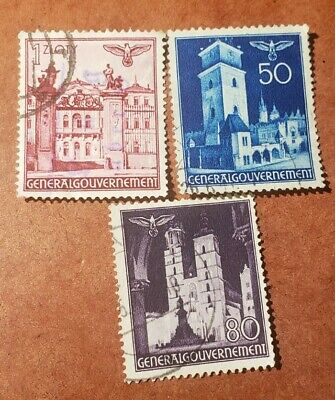 GM32 GERMANY REICH 1941 GENERALGOUVERNEMENT 1-50-80 3 USED STAMPS