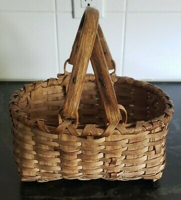 Antique Wooven Basket with Handles
