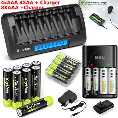 AA AAA Rechargeable Batteries NiMH 1-2V - AAAAA Battery LCD Smart Fast Charger