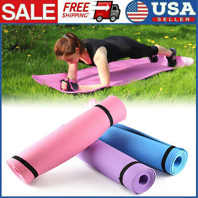 6mm Thick Yoga Mat Gym Home Camping EVA Foam Fitness Exercise Workout Pilates US