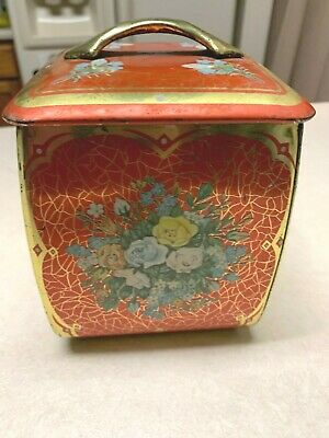 Vintage Red Gold Floral Tin Container with Lid Jar Made in West Germany Pre-Own