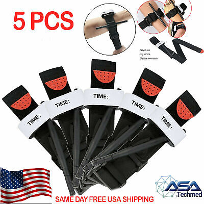 5 Pack Tourniquets with Rapid One Hand Application First Aid Survival - Hiking