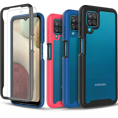 For Samsung Galaxy A12 Case Transparent Rugged Cover - Tempered Glass Protector
