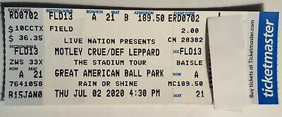Mötley Crüe Def Leppard Poison Joan Jett Cincinnati Ohio Concert Ticket June 21