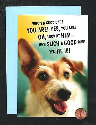 Fathers Day Dog Puppy Smiling - HUMOROUS - Fathers Day Greeting Card NEW