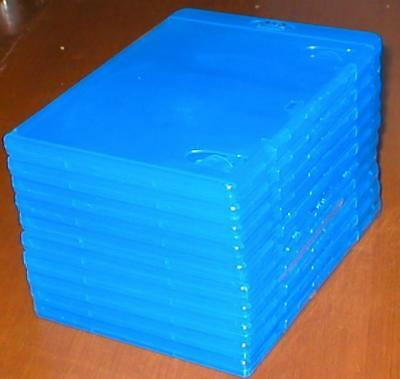 Set of 10 New Empty Blue Blu-ray DVD Replacement Cases w Wrap-Around Sleeves