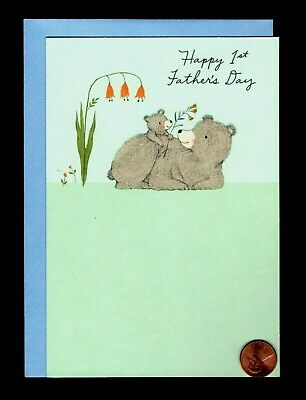 FIRST 1ST FATHERS DAY - Dad - Baby Bear Flowers - Greeting Card W TRACKING