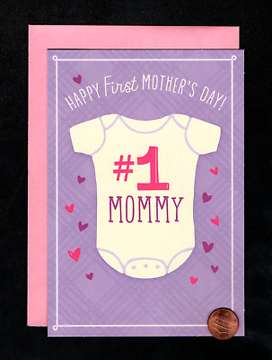 Mothers Day Babys First 1st  1 Baby Shirt Hearts - Greeting Card W TRACKING