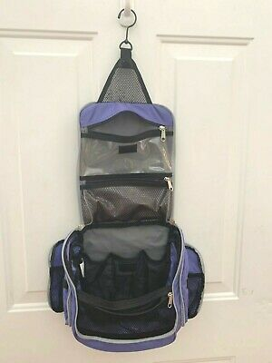 LL Bean Purple Hanging Travel Case Toiletry Makeup Organizer GUC