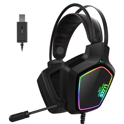 Gaming Headset Mic LED Headphones Stereo Bass Shock Surround For PC PS4 Xbox One