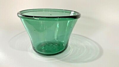 American Early 19th C-Blown Teal Green Glass Bowl MintGreat Color AAFA