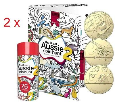 2 x 2021 Great Aussie Coin Hunt 2  in Opened Tubes with Folder - 26 Coins Set
