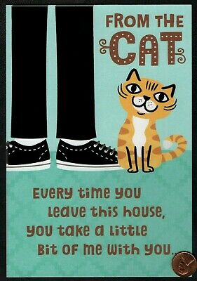 FATHERS DAY Cat Kitten Pants Sneakers  - FROM THE CAT - LARGE Greeting Card