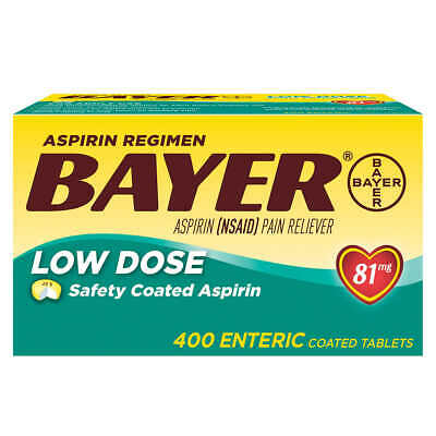 Bayer Low Dose Aspirin Regimen - 400 Tablets 81 mg enteric coated CHEAPEST PRICE