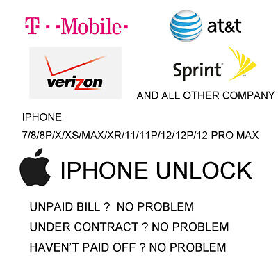 Iphone 7 8 X XR 11 12 Pro max UNLOCKED SERVICE from At-T T-mobile sprint verizon
