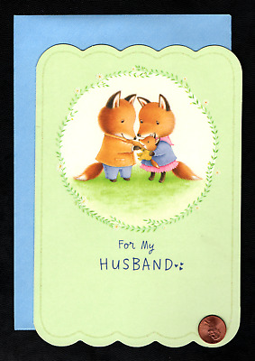 FATHERS DAY Foxes Baby Fox -  FOR HUSBAND - LARGE - Greeting Card W tracking