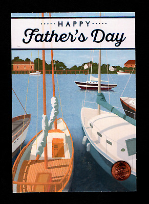 FATHERS DAY Boat Sailboats Dock Sails - Greeting Card W Tracking