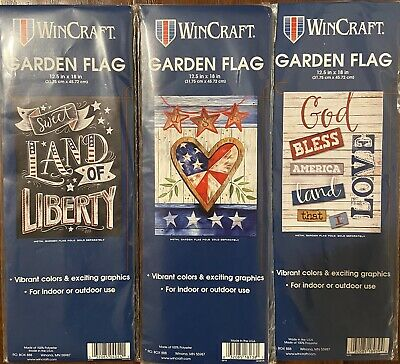 3 Patriotic Garden Flags- Fourth of July Independence Day 12-5x18
