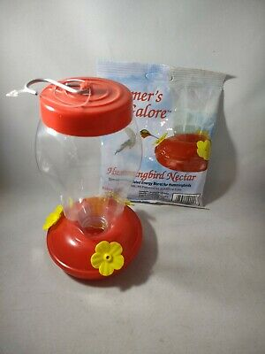 Pack Of 2 Red Plastic Outdoor Hummingbird Nectar Feeders  And Formulated Nectar