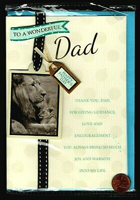 FATHERS Lion Cub Snuggling Banner Tag - 3-D - FATHERS Day Greeting Card