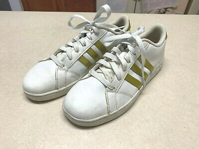 Adidas Shoes Sneakers White Leather Gold Stripes PGD 789006 Size 5  Womens 7