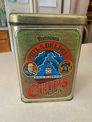 Vintage Famous Philadelphia Chips Collectible Tin Liberty Bell Americana