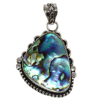 Abalone Shell Gemstone Mothers Day Girlfriend Gifted Silver Jewelry Pendant 2