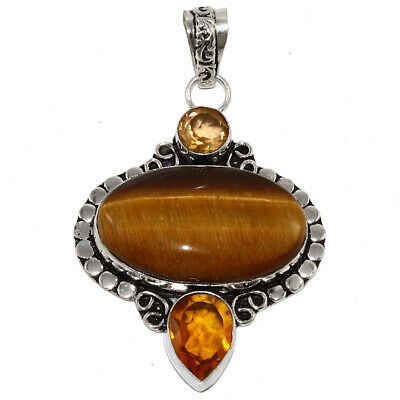 Tiger EyeS Gemstone Mothers Day Girlfriend Gifted Silver Jewelry Pendant 2-5