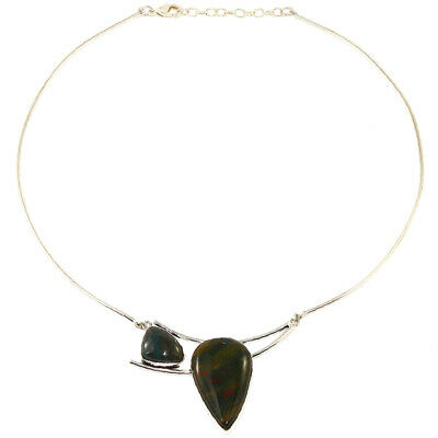 Blood Stone Gemstone Womens Unisex Mothers Day Silver Jewelry Necklace 16