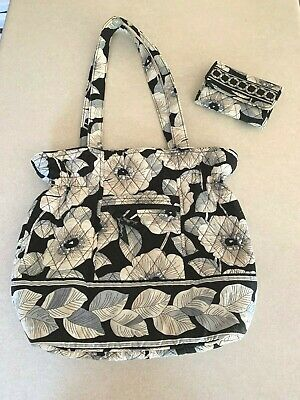 Vera Bradley Quilted Floral Leaves  Black White Tan Purse Wallet Set Pre-Owned