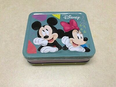 Disney Mickey Minnie Mouse Candy Tin Container Box Yellow Blue Purple EMPTY
