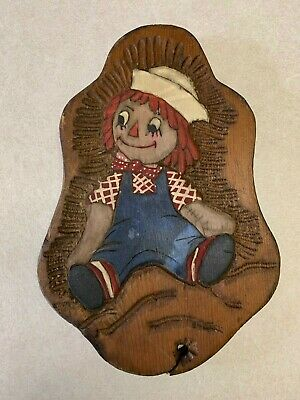 Vintage Wooden Raggedy Andy Wall Plaque Hand Carved and Painted