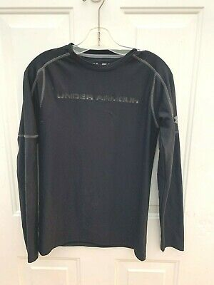Under Armour Mens Fitted Black Long Sleeve Workout Top Size Small EUC