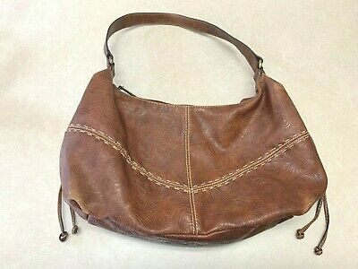 RELIC Handcrafted Embossed Tooled Shoulder Bag Purse Brown Faux Leather