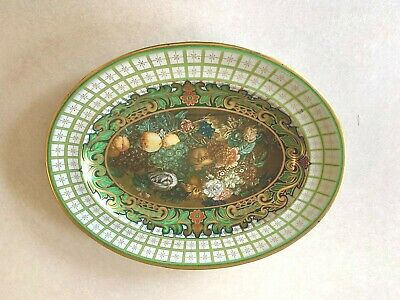 Vintage Daher Decorated Ware Oval Green Brown Gold Metal Tin Floral Serving Tray