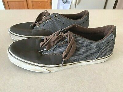 Vans Off the Wall Canvas Gray Brown Leather Shoes Mens Size 10-5 721356