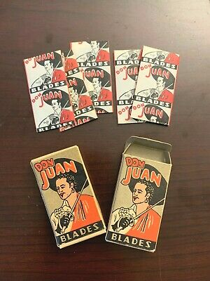 2 Vintage DON JUAN Blade Boxes w 5 Double Edge Wrapped Blades in each New York