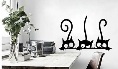 Kitten and Cats Removable Vinyl Wall Decor Stickers Three Fun Cat Room Decals