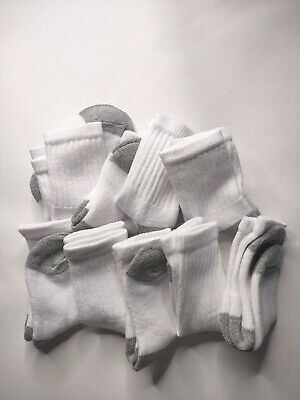 Boys Cushioned Sole Comfort Soft White Crew Socks Pack of 9 Cat and Jack Sz 10P