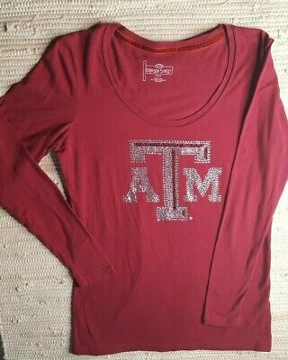 Womens Texas AM Sports Long Sleeve Size Small Burgundy Red Beaded Bling Top
